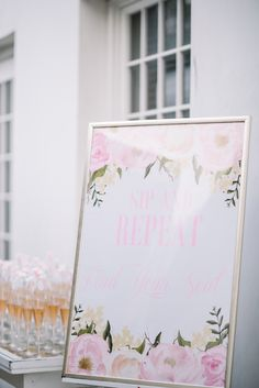 SIP AND REPEAT! Gorgeous #RosemaryBeach #Wedding in #Florida by @dearwesleyann with romantic details in blush, gold + white. See it all: http://www.confettidaydreams.com/rosemary-beach-weddings via @confettidaydreams