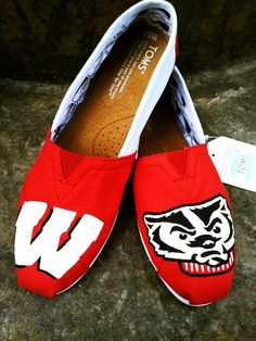 Wisconsin Badgers hand painted TOMS by Christa Keeler