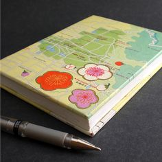 Nara City Handmade Hardcover Journal by Ruth Bleakley - Japanese Map with inlaid chiyogami plum blossoms