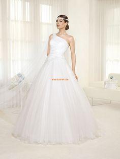 Robe de mariée 2014 princesse tulle au drapée épeule asymétriques
