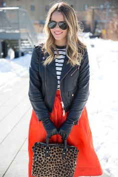 Julia Engel--love the full skirt with the leather jacket. Mine would be pleather...