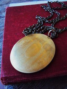 Vintage Large Locket Necklace Engraved by primitivepincushion, $29.99