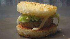 Korean rice burger from Aussie Masterchef :o) Korean Rice, Korean Food, Masterchef Recipes, Diet Recipes, Healthy Recipes, Healthy Food, Masterchef Australia, Pork Fillet, Japanese Chef