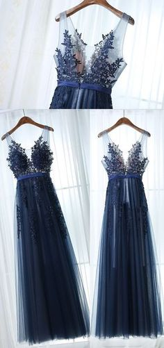 chic navy evening dresses, fashion long prom gowns with appliques, elegant wedding party dresses, navy bridesmaid dresses.