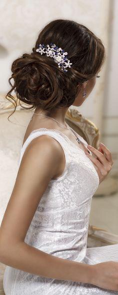 Blue crystal bridal hair comb