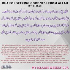 Jabir, Allah be pleased with him narrates that the prophet of Allah, Allah send peace and blessings upon him would teach us Istikharah (seeking good from Allah) like he would teach us a chapter from the Quran Islamic Prayer, Islamic Dua, Islamic Quotes, Prayer Verses, Quran Verses, Jodoh Quotes, Tahajjud Prayer, English Prayer, Silent Words