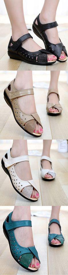 US$27.97 SOCOFY Large Size Peep Toe Hollow Rhinestones Hook Loop Flat Shoes