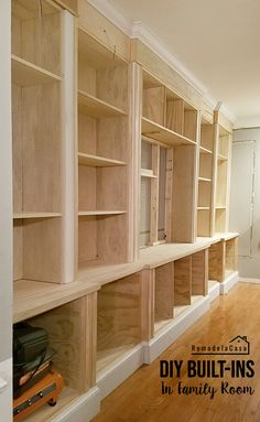 Room Built-In - Installing The Top or Header DIY - Built-ins - Complete details of how to build an entire wall of shelves! DIY - Built-ins - Complete details of how to build an entire wall of shelves! Built In Shelves Living Room, Bookshelves Built In, Build In Shelves, Diy Built In Shelves, Basement Built Ins, Bookcases, Diy Storage Room Shelves, Wall Cabinets Living Room, Kitchen Built Ins