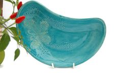 Turquoise Bowl Dish Butterfly Detail Made in UK by REDceramics, £14.00