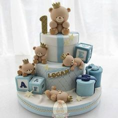 Birthday Cake Fondant Boy Teddy Bears Trendy Ideas The Effective Pictures We Offer You About Birthday Cake aesthetic A quality picture can tell you many things. Teddy Bear Birthday Cake, Toddler Birthday Cakes, Boys First Birthday Cake, Teddy Bear Cakes, Teddy Bears, Cake Birthday, Torta Baby Shower, Baby Shower Cakes For Boys, Baby Boy Cakes