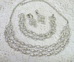 Vintage Signed EMMONS 3 Piece RHINESTONE by ElegantiTesori on Etsy