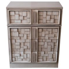 Brutalist Cubist Hi-Boy Dresser in Driftwood Finish   See more antique and modern Commodes and Chests of Drawers at https://www.1stdibs.com/furniture/storage-case-pieces/commodes-chests-of-drawers