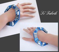 Bracelet octogonal bleu et cane graphique porté.
