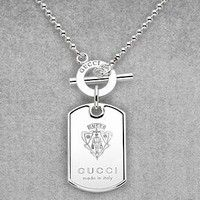 GUCCI Jewelry Dog Tag Necklace with engraved Gucci Crest in Sterling Silver