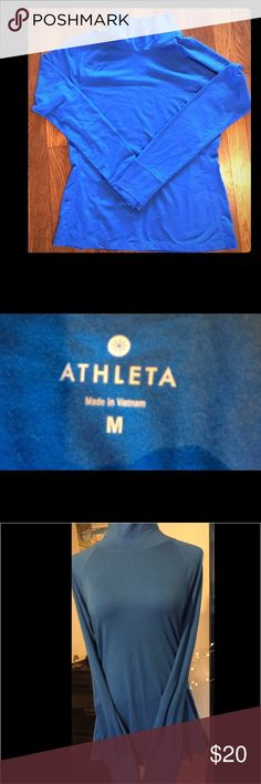 ATHLETA SPORT TOP. ATHLETA SPORT TOP. Very good pre-owned condition. Great color, comfortable and comes with thumbholes to keep sleeves in place. Athleta Tops