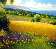 landscape pics This artist paints beautiful Landscapes. Ive seen a lot of his work and its stunning. Born in West Germany but moved to Austria in Fantasy Landscape, Landscape Art, Landscape Paintings, Landscape Photography, Watercolor Landscape, Watercolor Paintings, Acrylic Paintings, Artist Painting, Belle Photo