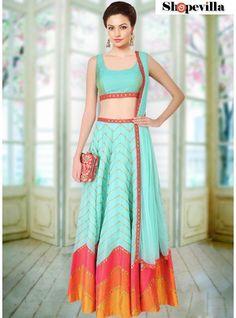 Turquoise Color Contemporary Lehenga Choli-FKFBL050