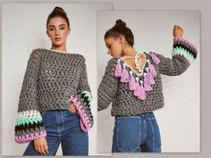 Chunky crochet sweater from cotton with acrylic yarn. embellished back. made to order 15 days Source by hippie style Hippie Style, Hippie Boho, Crochet Crop Top, Chunky Crochet, Crochet Cardigan, Knit Crochet, Cropped Tops, Hippie Crochet, Gris Rose