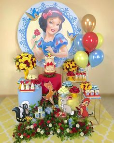 birthday for him ideas Princess Theme Party, Disney Princess Party, Princess Birthday, 1st Birthday Party For Girls, Birthday Party Decorations, Party Themes, Snow White Birthday, Snow White Disney, Mini Party