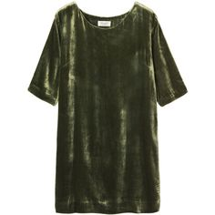 Toast Silk Velvet Dress ($175) ❤ liked on Polyvore featuring dresses, tops, green, short dress, dark sage, green silk dress, green velvet cocktail dress, sage green cocktail dress, short green dress and short green cocktail dress