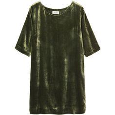 Toast Silk Velvet Dress (9.110 RUB) ❤ liked on Polyvore featuring dresses, tops, green, short dress, dark sage, green silk dress, sage green dress, mini dress, silk short dress and short velvet dress