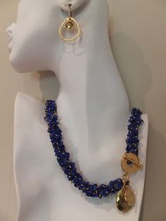 Lapis and 24K Gold Plated Necklace and Earrings $975.00