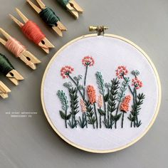 Modern Hand Embroidery KIT - Coral and Mint Meadow DIY Embroidery Hoop by And Other Adventures Embro Embroidery Materials, Floral Embroidery Patterns, Dmc Embroidery Floss, Hand Embroidery Stitches, Modern Embroidery, Embroidery Hoop Art, Hand Embroidery Designs, Cross Stitch Embroidery, Embroidered Flowers
