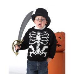 free knitting pattern for Halloween Skeleton Sweater