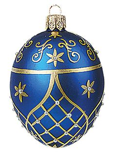 Faberge Inspired Mini Blue EGG Polish Blown Glass Christmas OR Easter Ornament | eBay