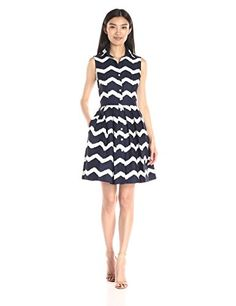 Taylor Dresses Women's Fit-and-Flare Zigzag Shirt Dress