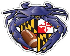 This Baltimore Raven Crab vinyl die cut sticker features the famous Maryland Blue Crab with football in Raven purple and gold. The addition of the Maryland flag Baltimore Ravens, Made In America, Bumper Stickers, Really Cool Stuff, Vinyl Decals, Flag, Football, Traditional Tattoos, Neo Traditional