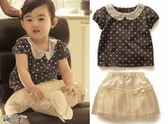 Lovely little polkadot and white skirt ensemble.   navy and white never goes out of fashion  Aliexpress.com : Buy japan baby girl summer clothing set, toddler's summer suit,babay/infant/toddler dress set(shirt+dress),infant's suit,baby wear from Reliable baby wear suppliers on Dance world