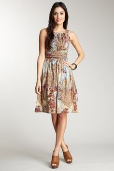 Chaudry Printed Smock Back Dress
