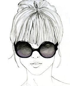 Featherhead No. 02 -- black and white original fashion illustration art print