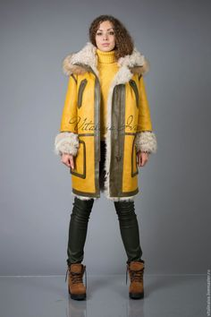 Купить Дублёнка тиградо жёлтая - дубленка, дубленка из овчины, овчина, теплая…