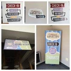 Children's Ministry Check-in Signage Church Nursery Decor, Kids Church Decor, Kids Church Rooms, Church Ideas, Church Ministry, Kids Ministry, Ministry Ideas, Sunday School Rooms, Parents Room