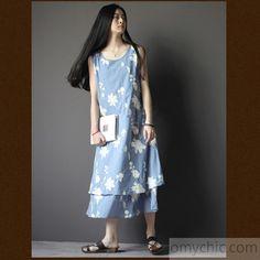 floral embroideried linen summer dress layered Navy cotton dress