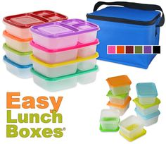 Bento-style meal and snack containers for quick and easy packing. 3 or 4 compartments. Insulated coolers and dip containers too. Make healthy Lunchables for kids and adults. Work Lunch Box, Easy Lunch Boxes, Lunch Ideas, Lunch Kits, Bento Ideas, Meal Ideas, Lunch Snacks, Kid Lunches, School Lunches