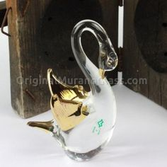 Swan Glass Figurine with Gold Handmade Wedding Favours, Wedding Favors, Glass Figurines, Corporate Gifts, Murano Glass, Swan, Special Events, How To Memorize Things, Gadgets