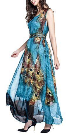 1dc87241cad Wantdo Women s Peacock Printed Bohemian Summer Maxi Dress US 14 Plus Size  Maxi Dresses