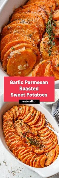 Garlic Parmesan Roasted Sweet Potatoes - Tender, extra-flavorful flavorful and easy to make.