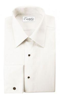 """""""Bari"""" Ivory Laydown Tuxedo Shirt"""