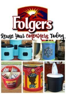Lots of ways to reuse these Folgers Coffee Containers - let yourself be seduced by all .Lots of ways to reuse these Folgers Coffee Containers - be inspired by all the uses you can try Plastic Coffee Containers, Plastic Container Crafts, Recycling Containers, Storage Containers, Coffee Can Crafts, Tin Can Crafts, Diy Crafts, Tree Crafts, Folgers Coffee Container
