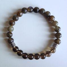 Healing Anxiety ~ Genuine Labradorite & Smokey Quartz Bracelet w/ Sterling Silver Celtic Charms on Etsy, $26.00