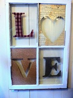 Love window I created with fabric & vintage sheet music Old Window Projects, Pallet Projects, Home Projects, Craft Projects, Craft Ideas, Old Window Frames, Window Panes, Window Ideas, Vintage Window Decor
