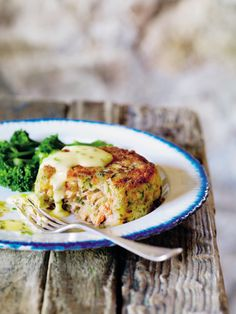 Cook deep trout fish cakes with lemon butter and chive sauce