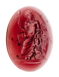 Oval gem with Dionysus, satyr,and panther   Museum of Fine Arts, Boston