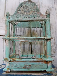 Wood and metal birdcage Solid large thick ornate wooden hand painted sea foam…