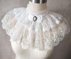 Tour de cou châle en dentelle blanche brodé col Gothique Lolita Aristocrate
