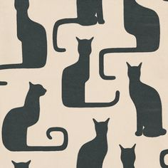 Omega Cats  (211065) - Sanderson Wallpapers - A bold stylised sitting cat motif with their tails trailing, shown in ivory and black. Other colour ways are also available. Please ask for a sample for true colour match.
